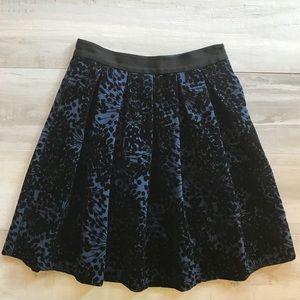 Boden Velvet Print Full A-Line Black Blue Skirt